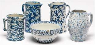 FIVE PIECES OF AMERICAN KITCHEN STONEWARE.