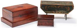 TWO AMERICAN MINIATURE BOXES AND BANK.