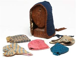 AMERICAN BONNETS AND WOODEN FORM.