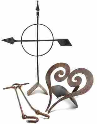 THREE IRON PIECES INCLUDING DIRECTIONAL.