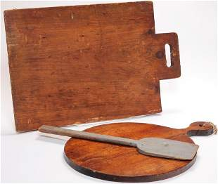 TWO AMERICAN CUTTING BOARDS AND A PEEL.
