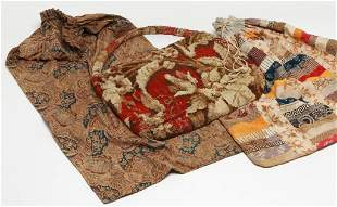 TWO FABRIC BAGS AND CARPET BAG.