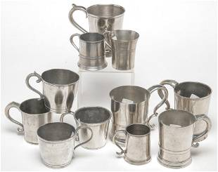 ELEVEN AMERICAN PEWTER MUGS AND ENGLISH MEASURE.