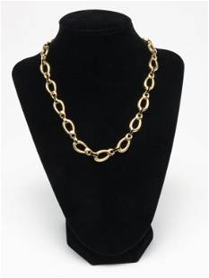 18K YELLOW GOLD LINK NECKLACE WITH ENAMEL.