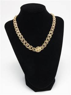 YELLOW GOLD FILIGREE LINK NECKLACE.