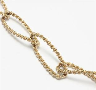 14K GOLD OVAL LINK CHAIN NECKLACE.