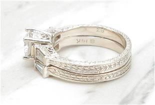 14 KARAT WHITE GOLD & DIAMOND ENGAGEMENT RING SET.