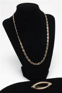 14 KARAT YELLOW GOLD BROOCH AND NECKLACE.