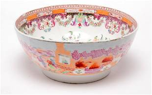 ENGLISH NEW HALL CHINOISERIE PUNCH BOWL.