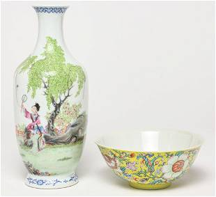 CHINESE PORCELAIN BOWL AND VASE.