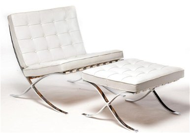 AMERICAN BARCELONA CHAIR AND OTTOMAN BY KNOLL.