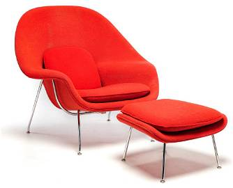 AMERICAN WOMB CHAIR AND OTTOMAN BY KNOLL.