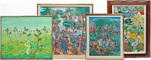 FOUR HAITIAN VILLAGE AND MARKET SCENES.