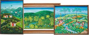 THREE HAITIAN PAINTINGS OF FIELDS AND VILLAGE.