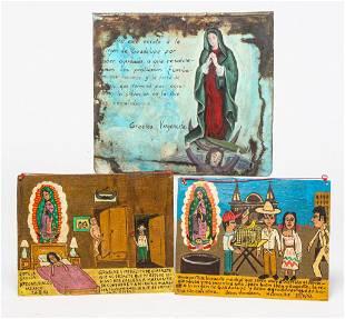 THREE MEXICAN RETABLOS.