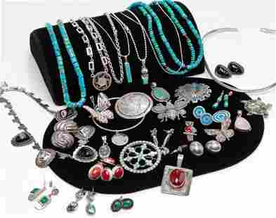 GROUP MOSTLY STERLING SILVER & TURQUOISE JEWELRY.