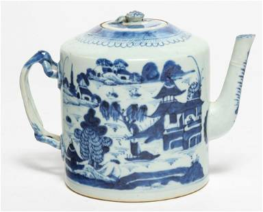 CHINESE BLUE CANTON TEAPOT.