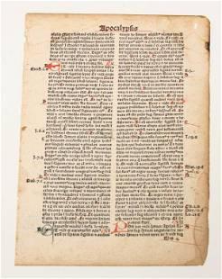 """EUROPEAN PRINTED """"APOCALYPSIS"""" BIBLE LEAF."""
