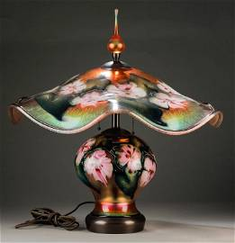 CHARLES LOTTON GOLD GLASS TABLE LAMP.