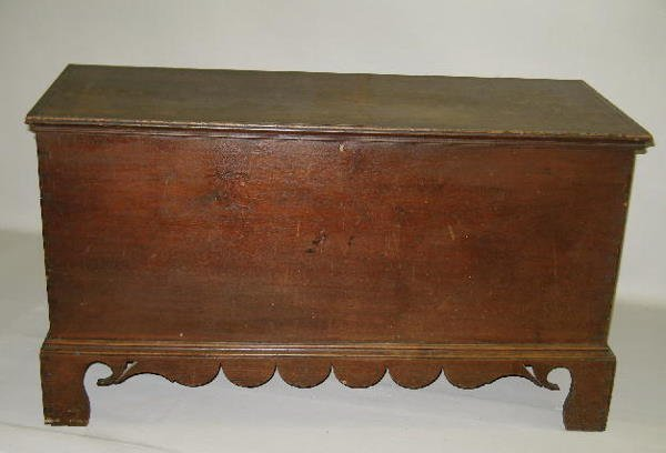 1: FINE COUNTRY BLANKET CHEST. Walnut with an old mello