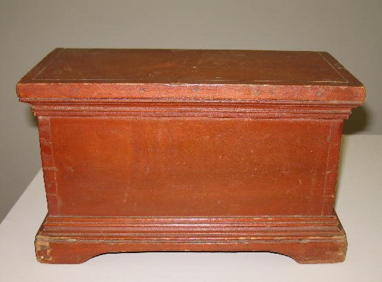 2: MINIATURE BLANKET CHEST. Poplar with an old red wash