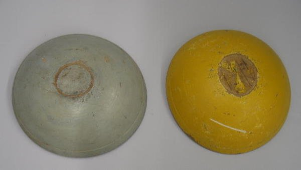 3: TWO TREENWARE BOWLS IN OLD PAINT. One has a bright y
