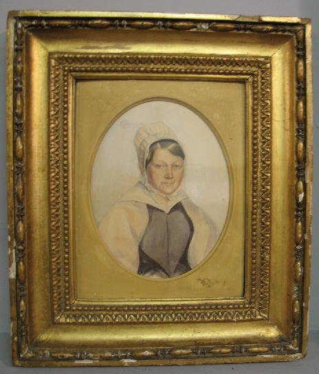 5: WATERCOLOR ON PAPER. Portrait of a woman wearing a p