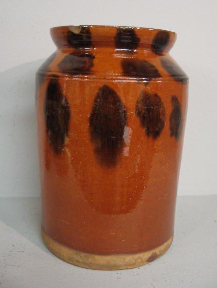 7: REDWARE CANNING JAR. Glaze has dark brown splotches