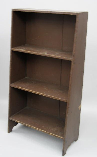 11: CANTED SHELVES. Poplar with old brown paint over ea