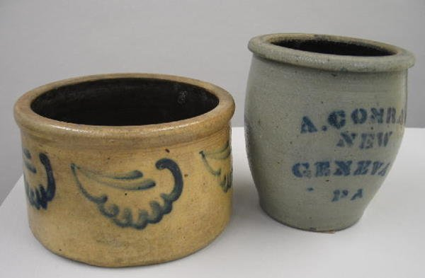 13: TWO PIECES OF STONEWARE. Small butter crock with br