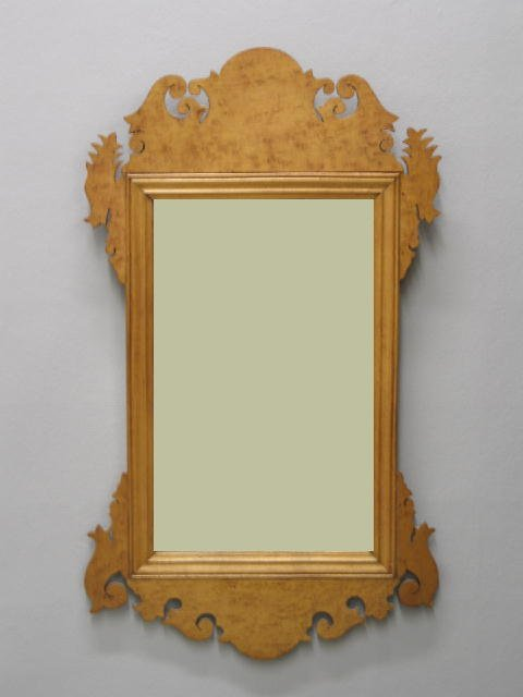 15: CHIPPENDALE STYLE SCROLL MIRROR. Maple and bird's-e