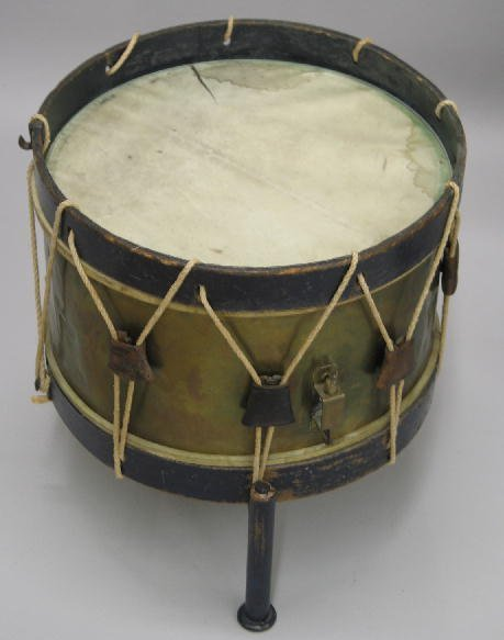 18: SMALL DRUM ON STAND. 19th Century rope tension drum