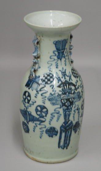 19: ORIENTAL PORCELAIN URN. Hand painted blue design on