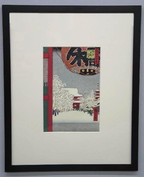 20: JAPANESE WOODBLOCK PRINT. Striking winter scene wit