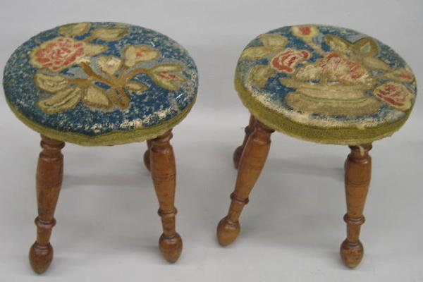 304: PAIR OF CURLY MAPLE FOOTSTOOLS WITH HOOKED FLORAL
