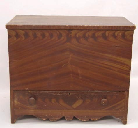424: DECORATED ONE-DRAWER MULE CHEST. Pine with origina