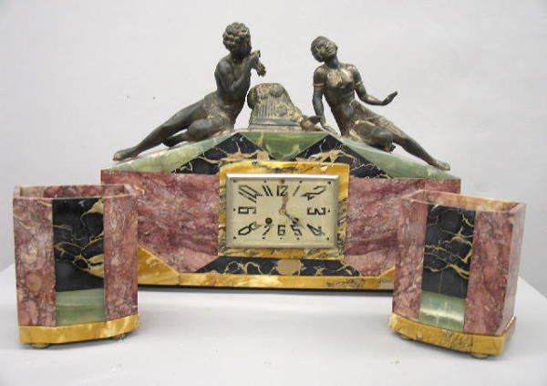 431: ART DECO MARBLE CLOCK AND GARNITURE SET. Marble co