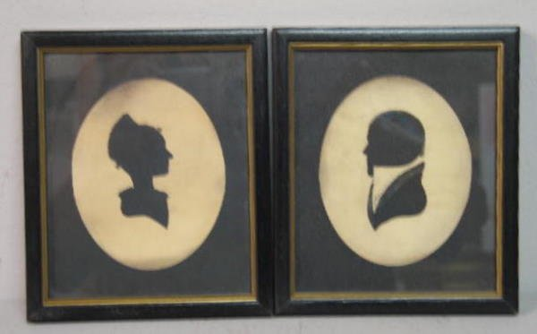 440: PAIR OF SILHOUETTES. Hollow cut portraits of husba