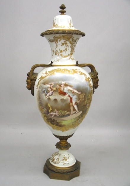 442: LARGE SEVRES COVERED URN. White thick walled porce