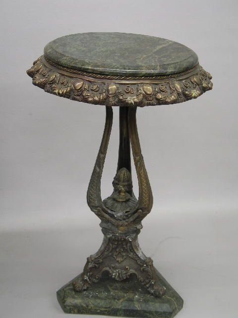 443: FERN STAND. Cast brass with a bronze finish and gr
