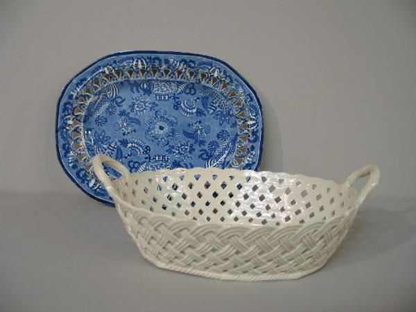 479: TWO PIECES: Staffordshire tray with reticulated ed