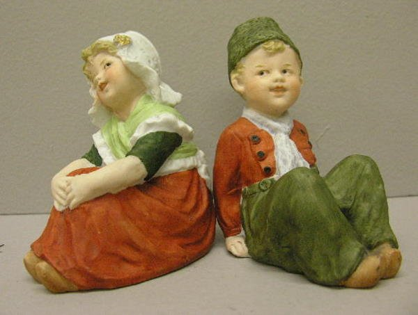 15: PAIR HEUBACH BISQUE PIANO BABIES.  Both signed with