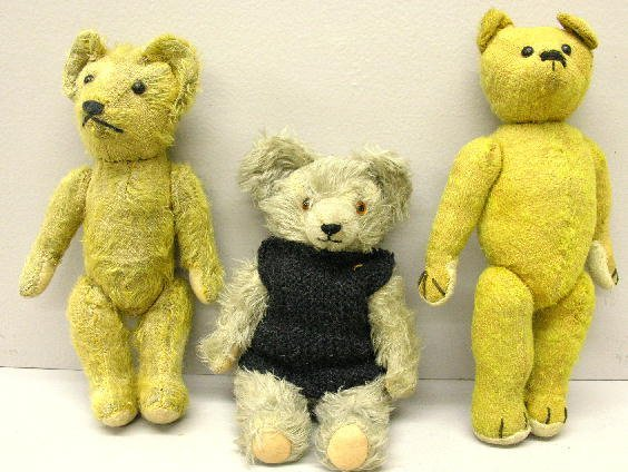 """13: THREE MOHAIR BEARS.  Two pictured are early 12"""" joi"""