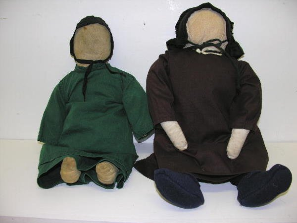 """6: TWO  PRIMITIVE AMISH CLOTH DOLLS, 17""""and 19"""".  17"""" d"""
