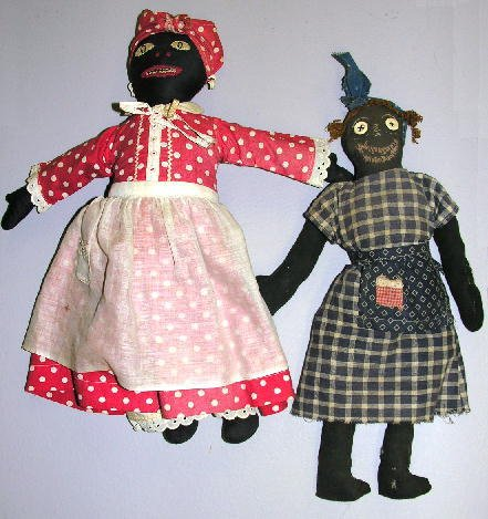 """5: TWO PRIMITIVE BLACK CLOTH DOLLS, 15"""" AND 16"""".  Large"""