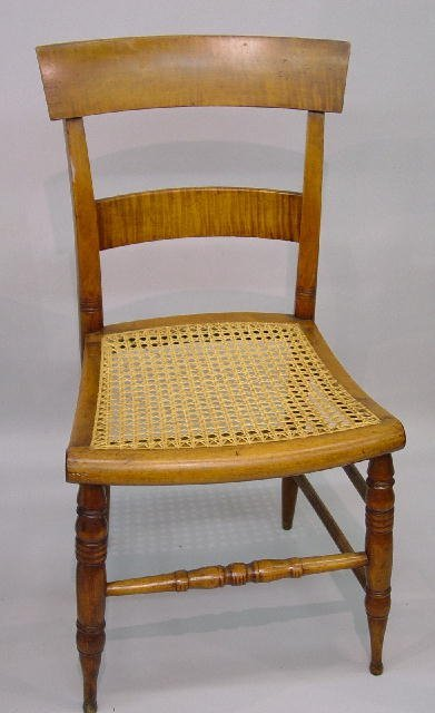 14: PAIR OF CURLY MAPLE SIDE CHAIRS. Mellow b