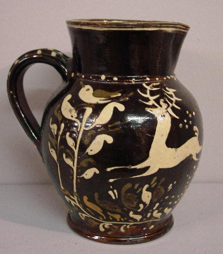 361: PENNSYLVANIA DECORATED REDWARE PITCHER.