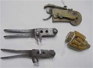 433: FOUR ITEMS. Brass bleeder with pistol gr