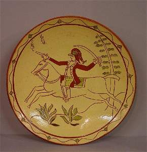 678: TWO CONTEMPORARY REDWARE PLATES WITH SGR