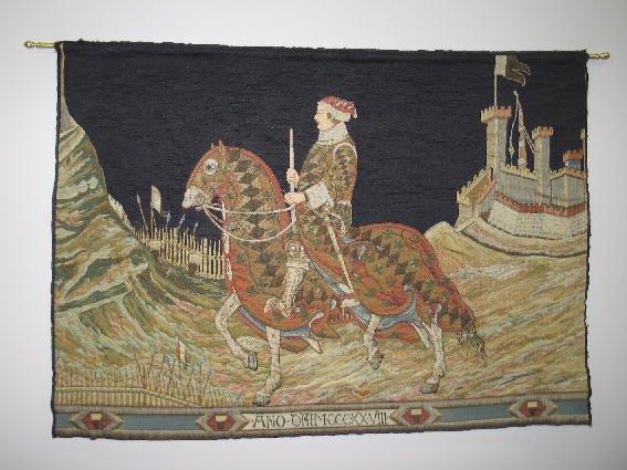 1002: TAPESTRY. Man on horseback leaving castle for bat